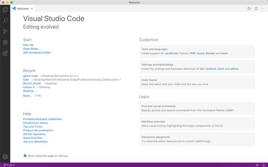Visual Studio Code welcome screen