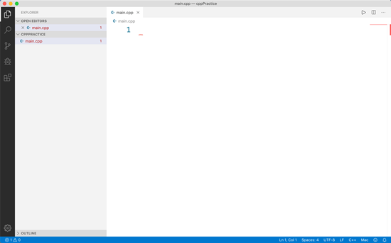 Visual Studio Code with blank main.cpp file