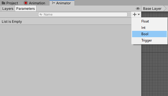Different types of parameters in the Unity Animator