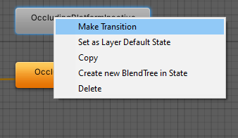 Right-click on the state allows you to create a transition in the Unity Animator
