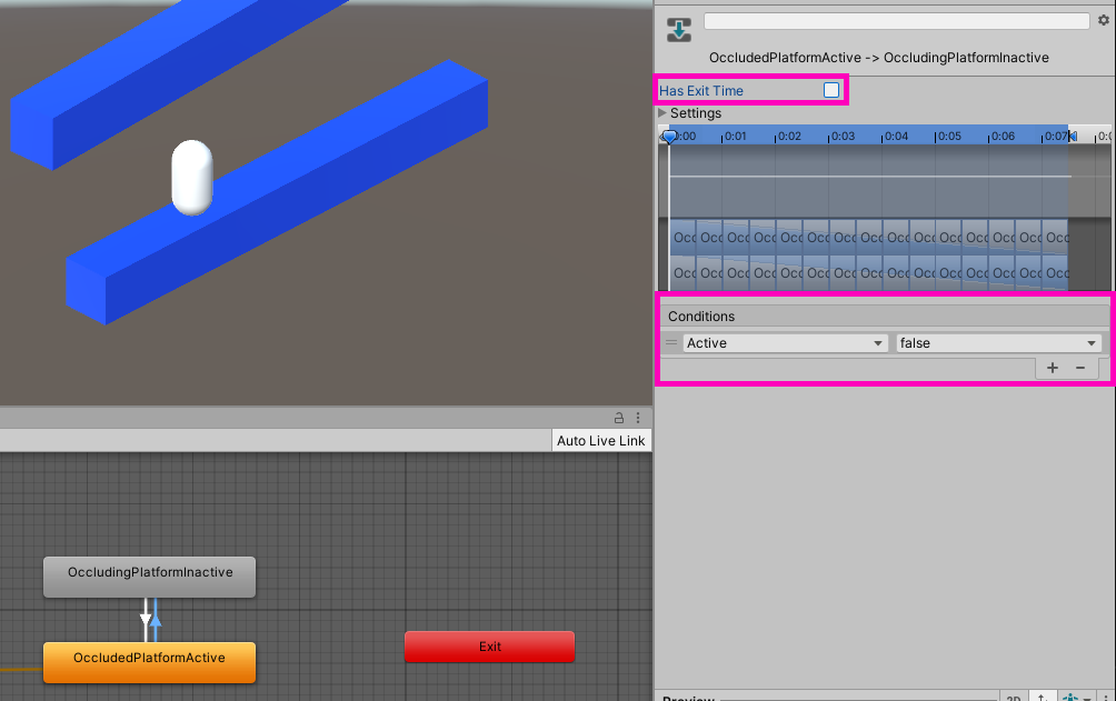 """Active"" to ""Inactive"" transition settings in the Unity Animator"