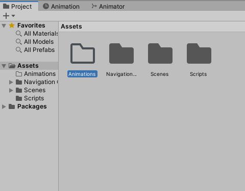 Animation folder in Unity