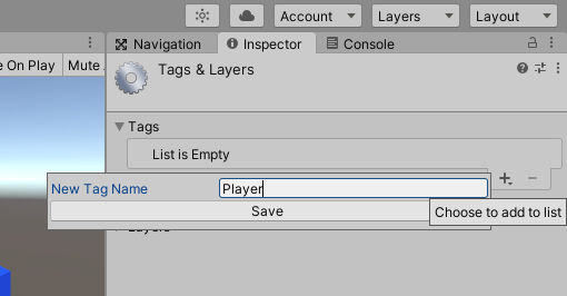 "Creating a new ""Player"" tag in the tag and layers manager"