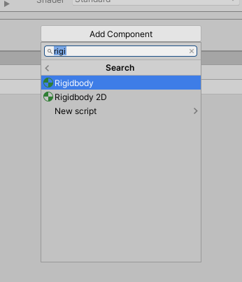 Searching for a rigidbody in the components