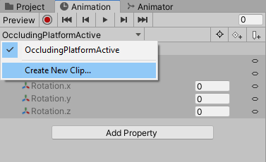 Creating a new animation clip in Unity