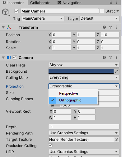 Switching the Camera to Orthographic in Unity
