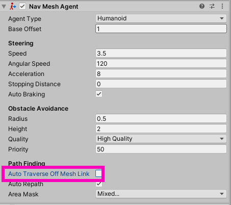 "Nav-Mesh Agent with ""auto traverse"" disabled"