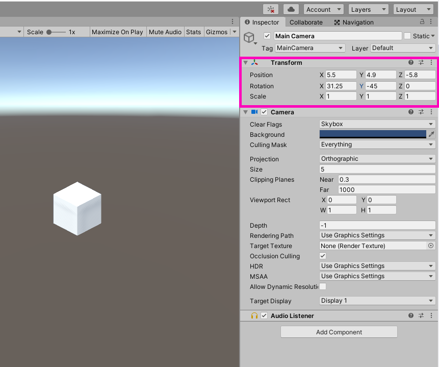 The transform of the Camera in Unity