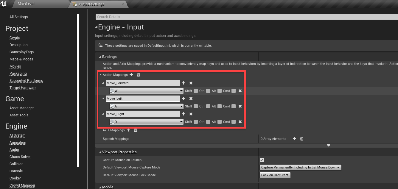 Unreal Engine Project Settings window