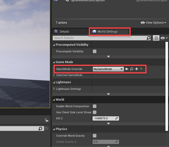 Unreal Engine World Settings window