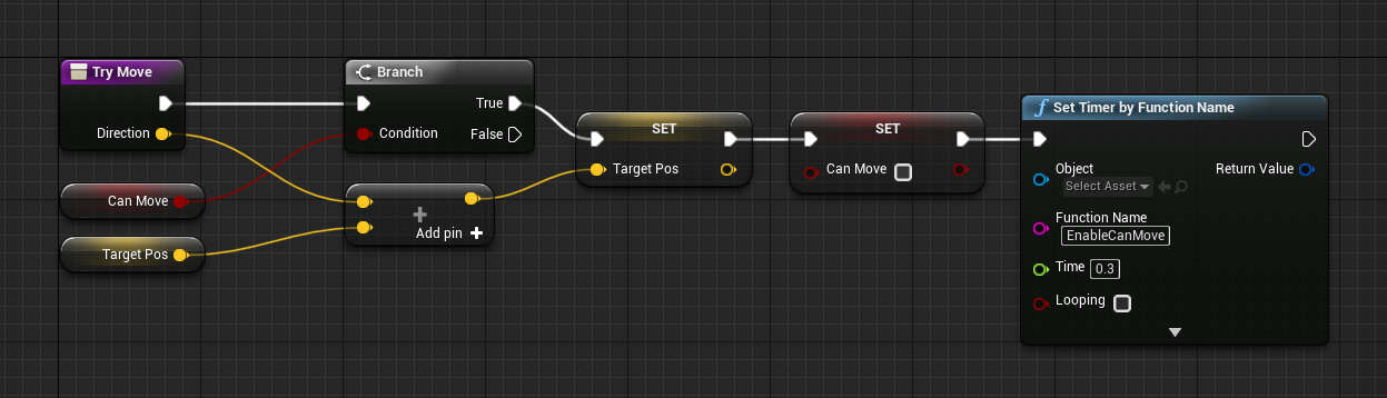 Unreal Engine Blueprinting logic for a Timer and movement