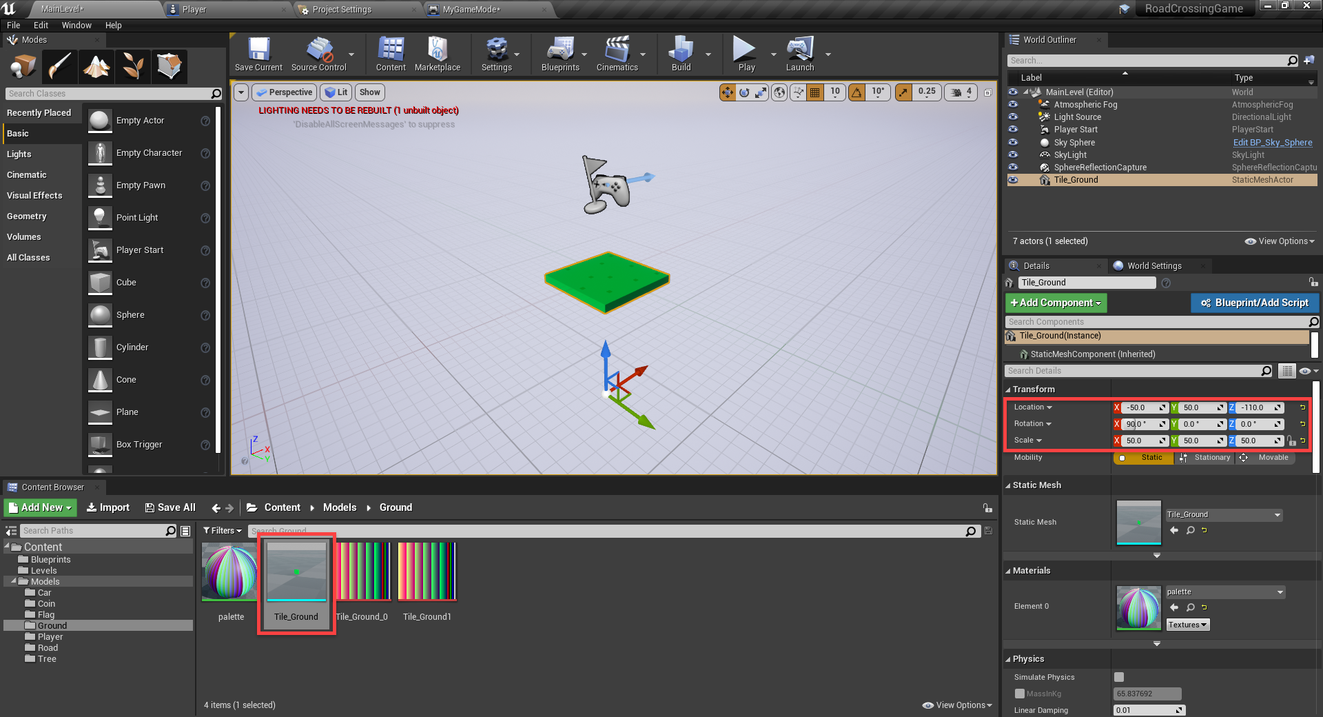 Unreal Engine with tile mesh added for level