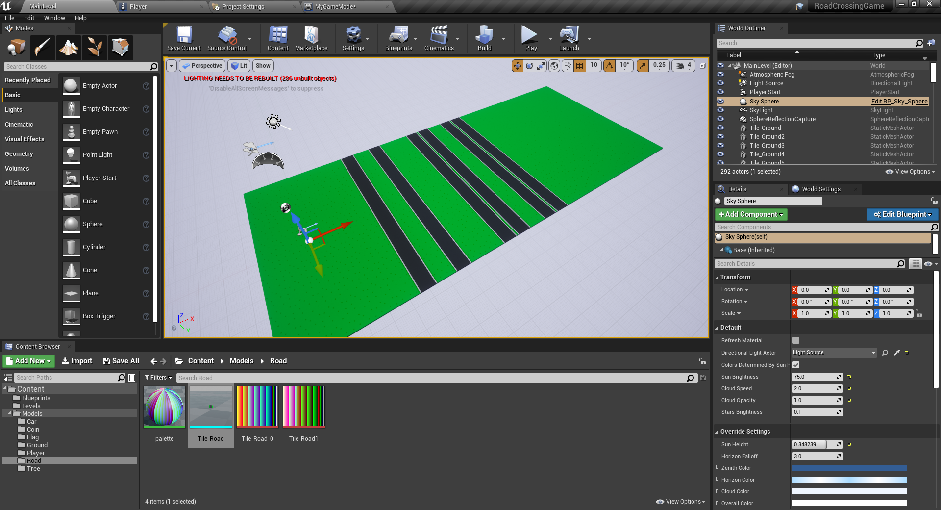 Tile combination in Unreal Engine to create road layout