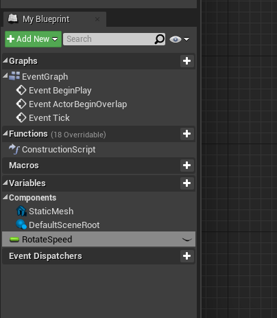 Unreal Engine with RotateSpeed added to Components for coin
