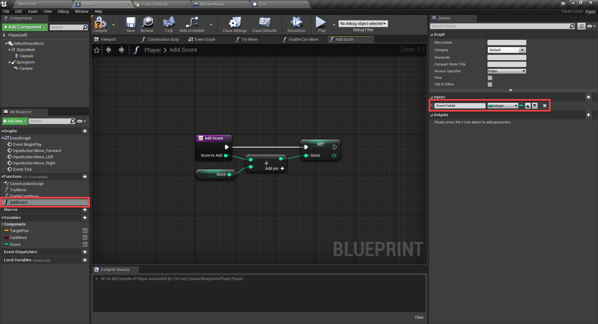 Unreal Engine with AddScore script added to Blueprint