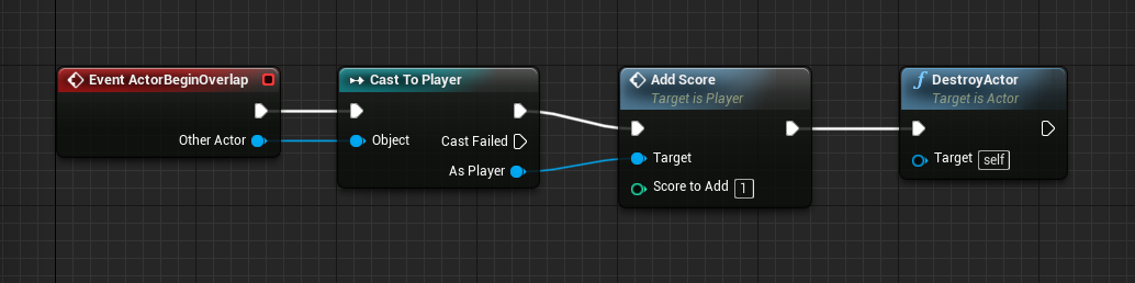 Collision logic for player and coin in Unreal Engine project