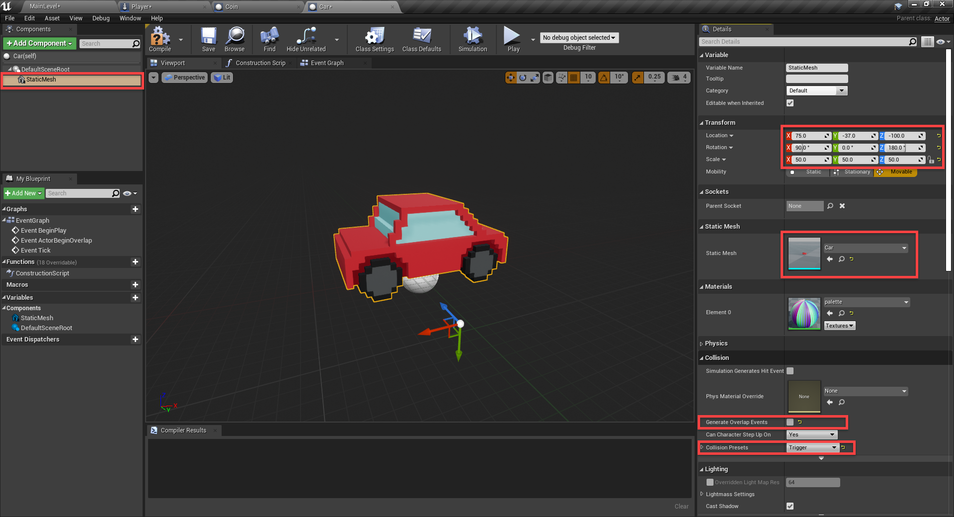 Unreal Engine with car object model for new blueprint