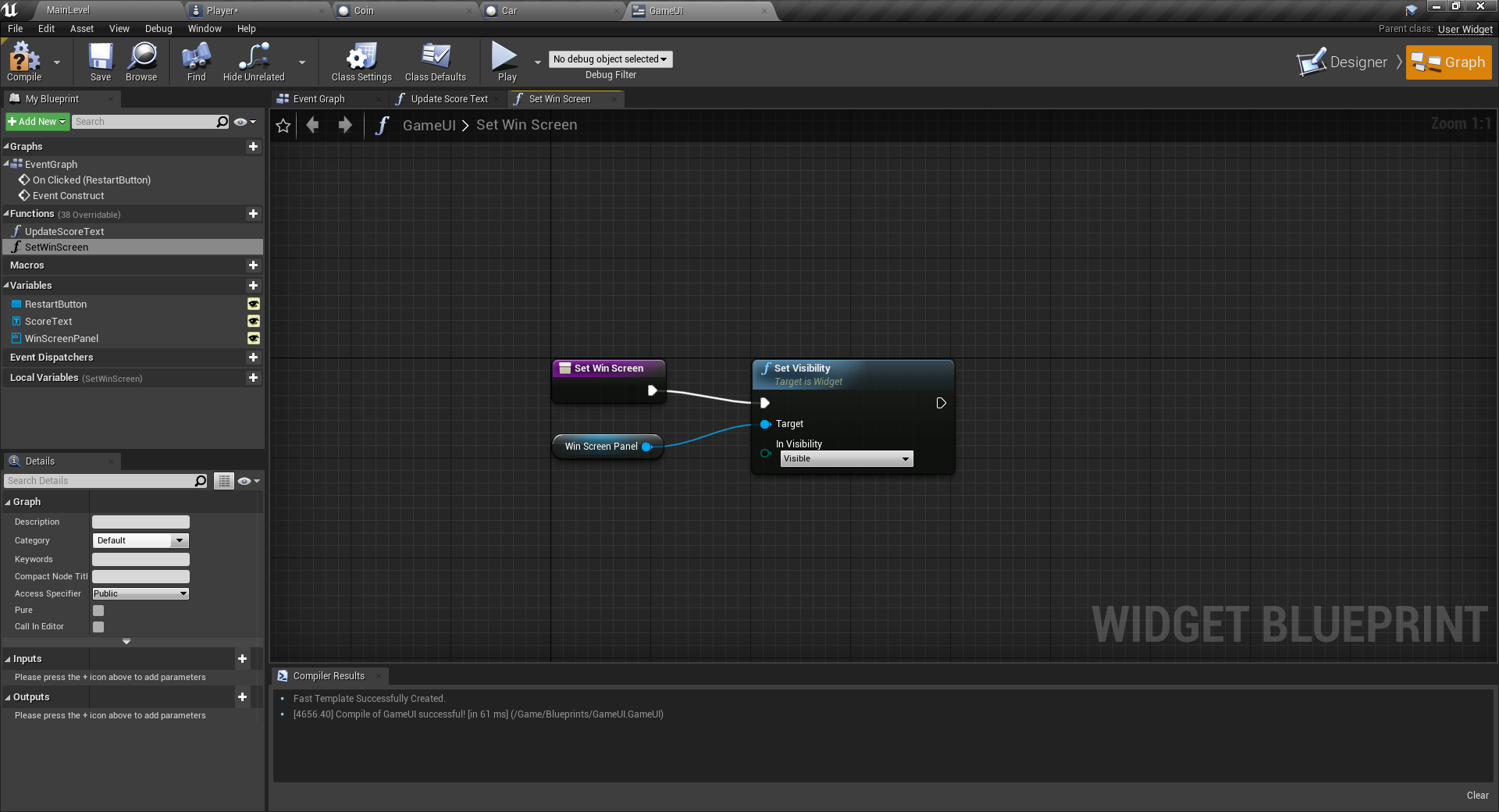 Logic to notify player of winning in Unreal Engine