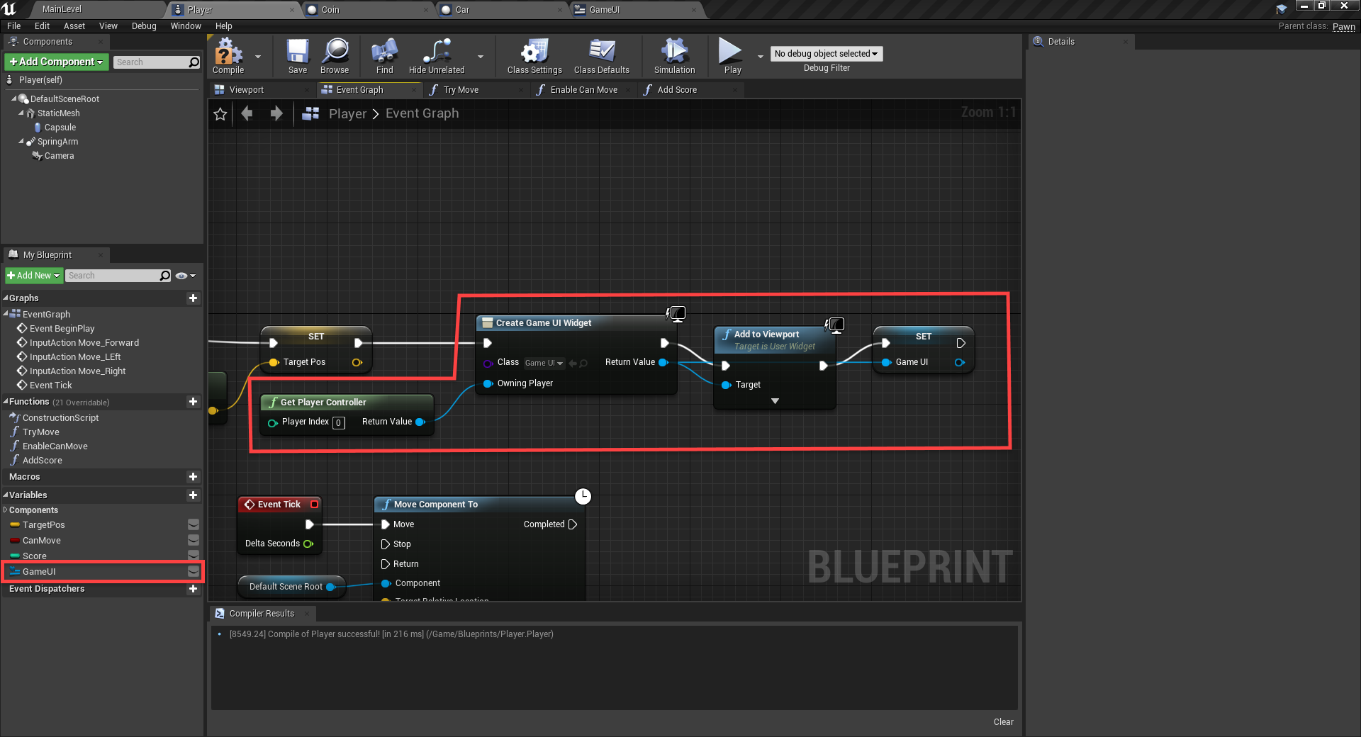 Unreal Engine Event Graph with event to initialize the UI