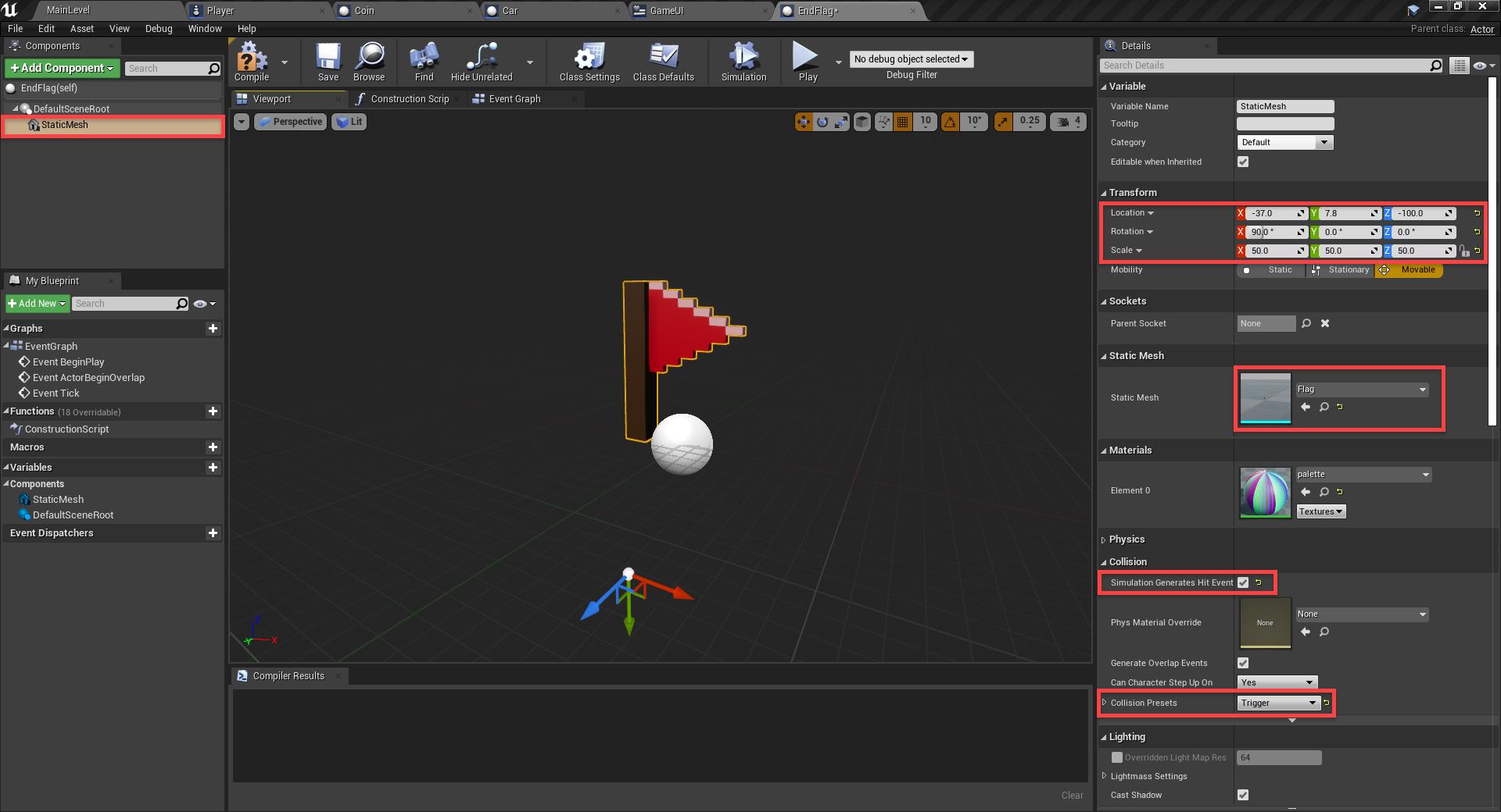 EndGoal blueprint created with flag model