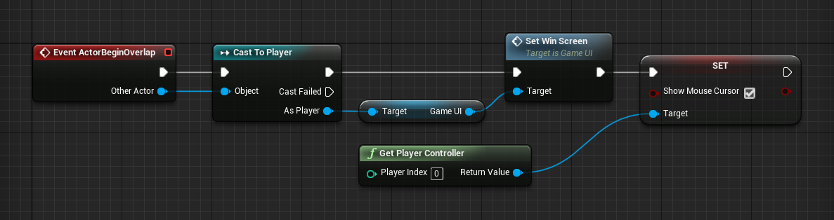 Logic to trigger game win pop up in Unreal Engine project