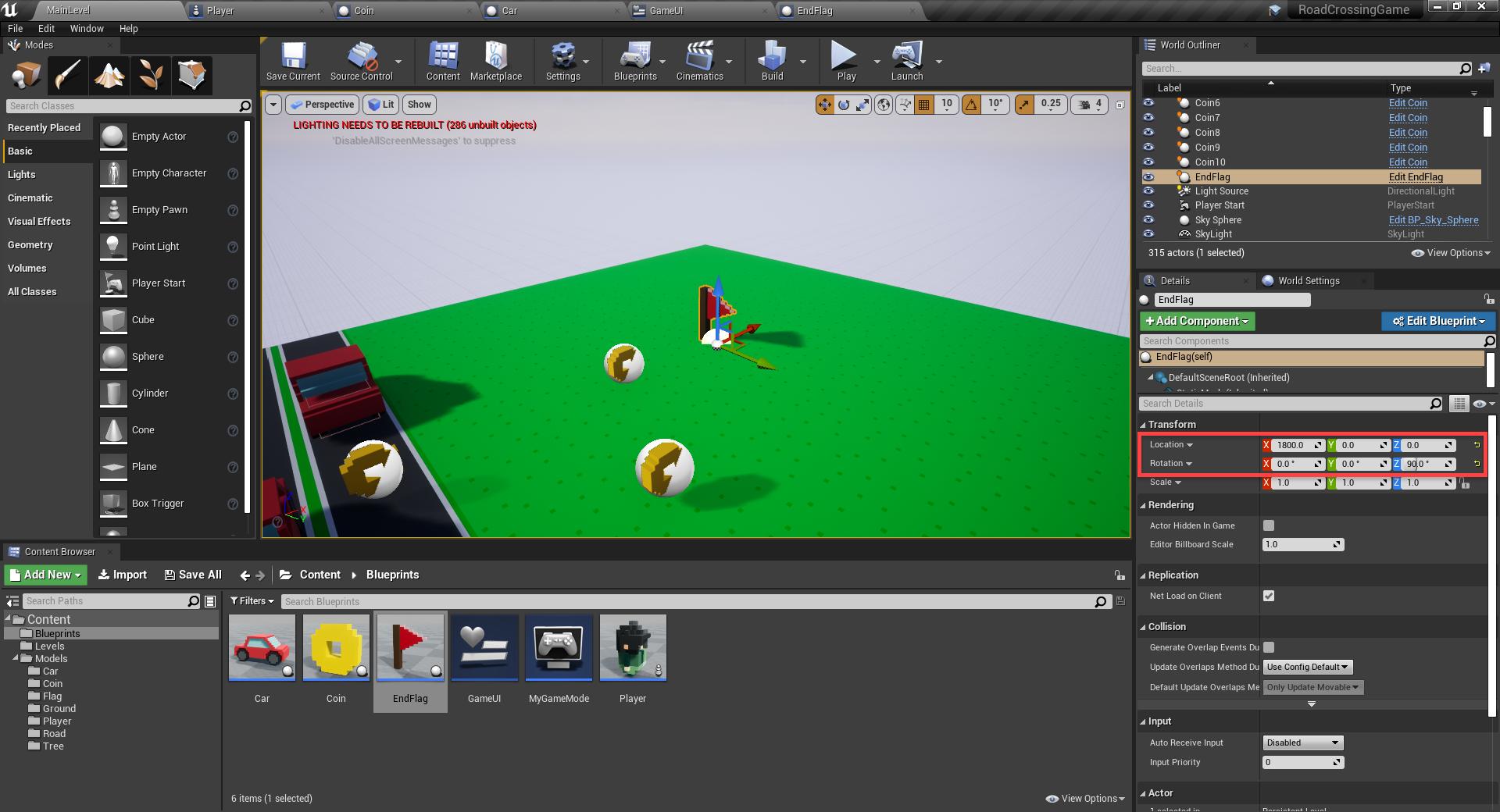 EndGoal blueprint added to Unreal Engine level