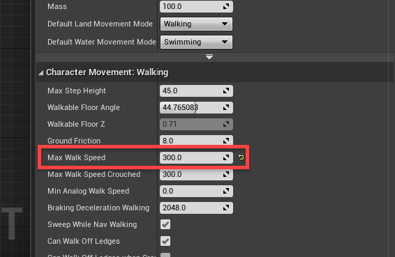 Character walking movement with max walk speed circled
