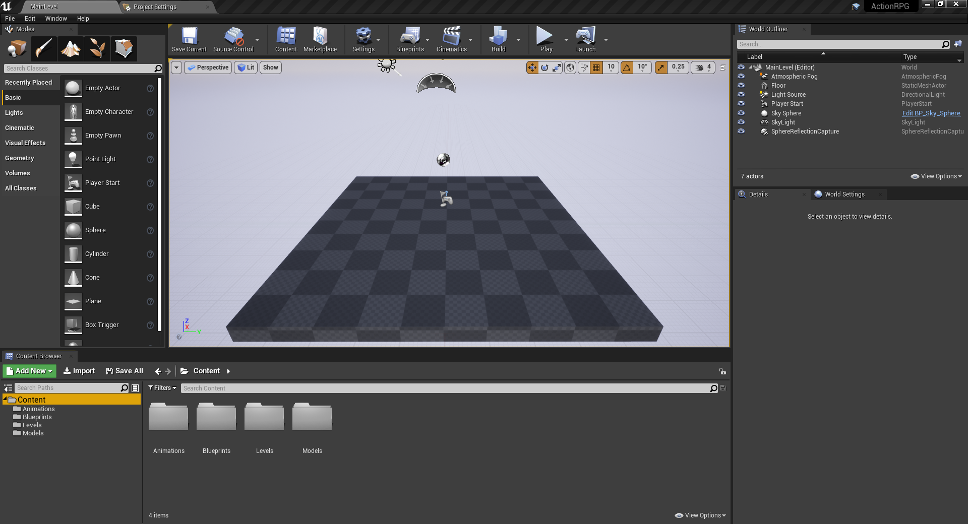 New project in Unreal Engine