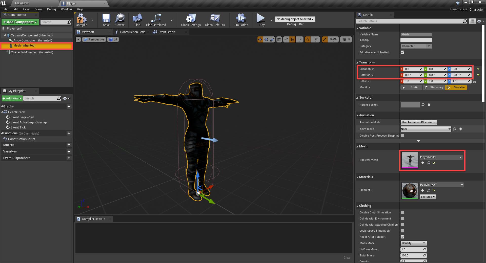 Unreal Engine Player Blueprint setup