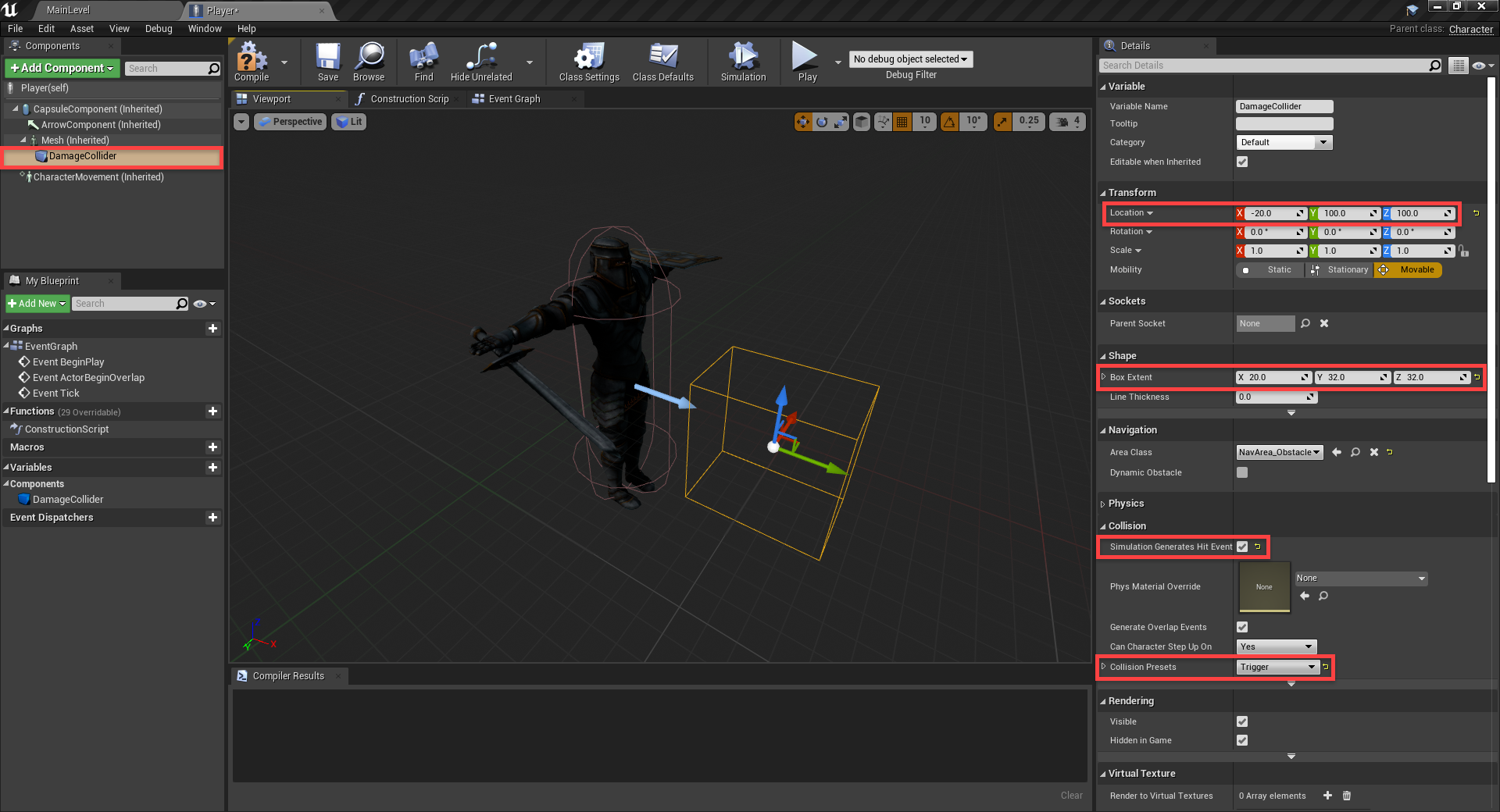 Damage collider added to Player Blueprint in Unreal Engine