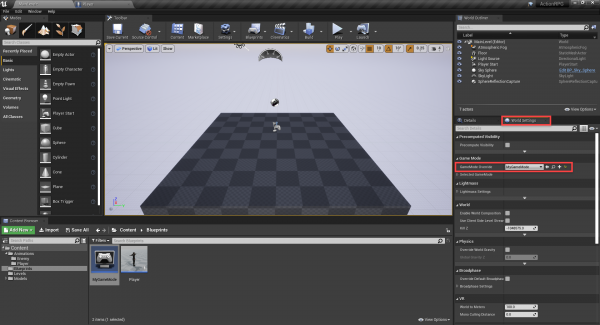 MyGameMode blueprint added to Unreal Engine project