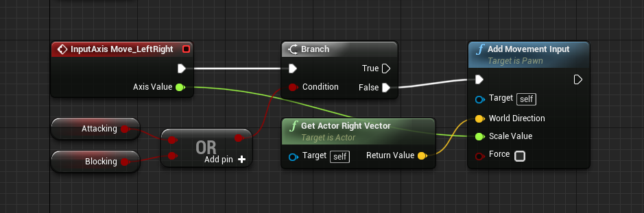 Event logic for horizontal player movement in Unreal Engine