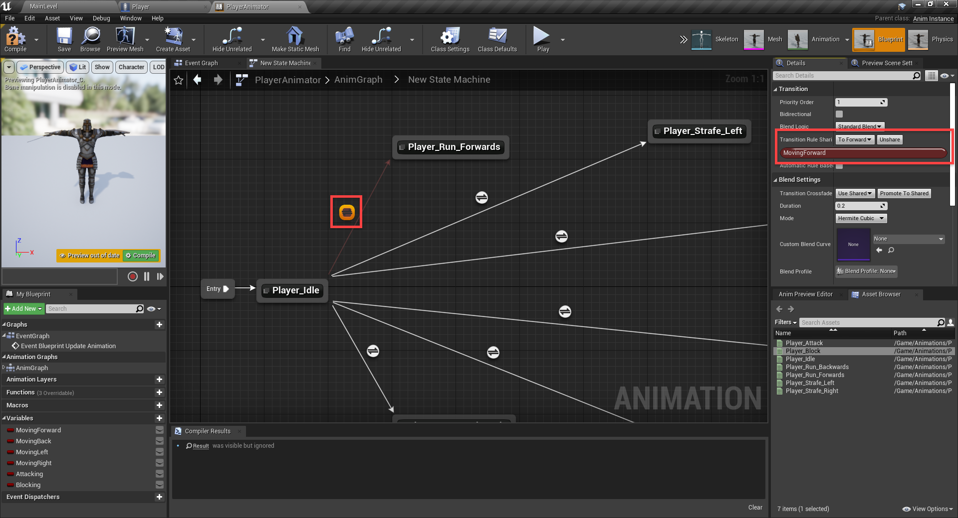 Unreal Engine with saved transition logic saved for more use