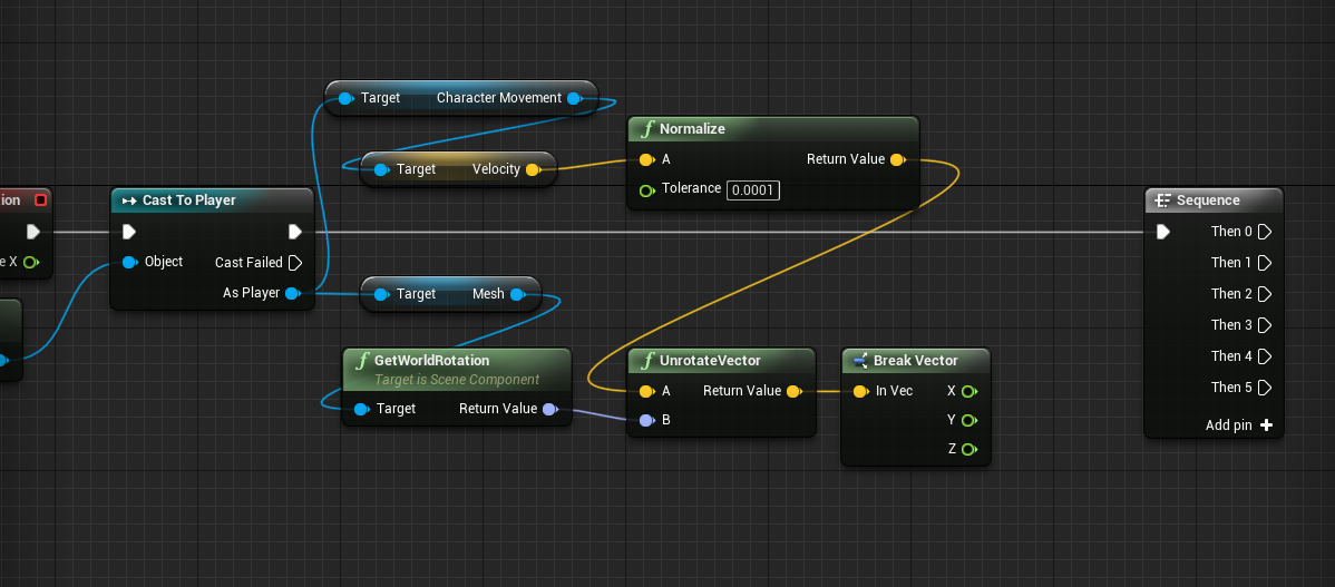 Sequence node added to grab player properties in Unreal Engine