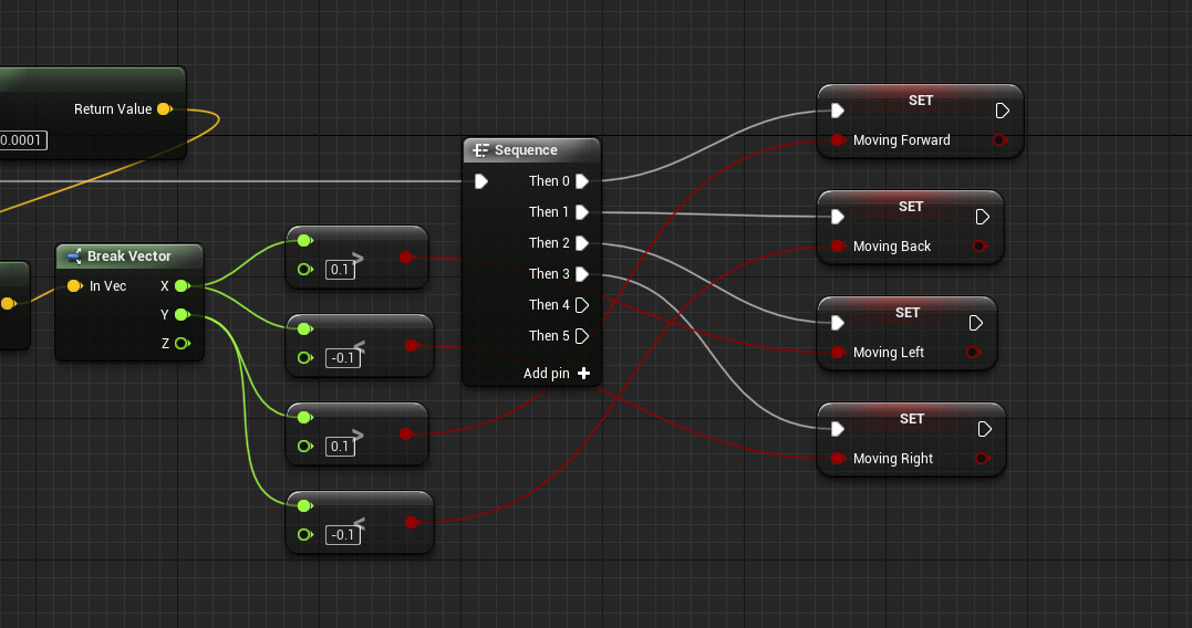 Moving booleans set within Unreal Engine event graph for player