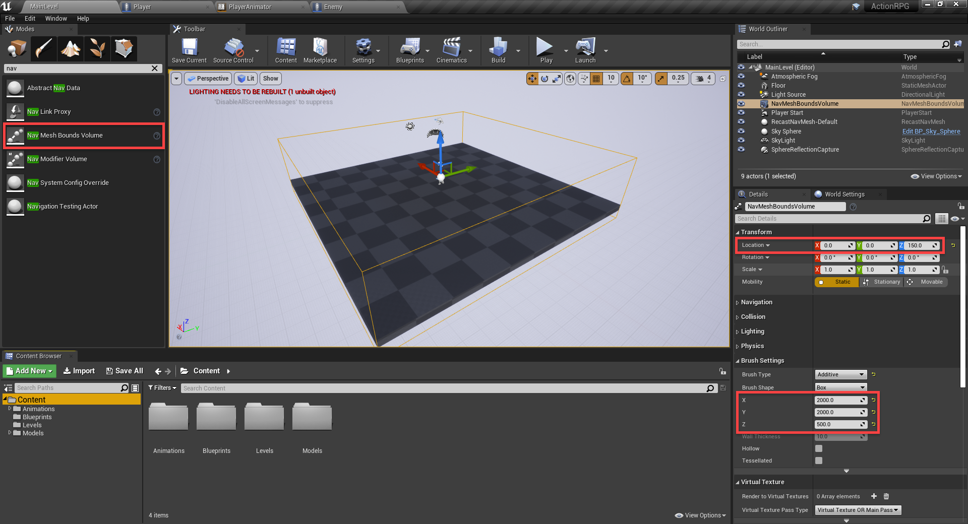Mesh bounds showing in Unreal Engine