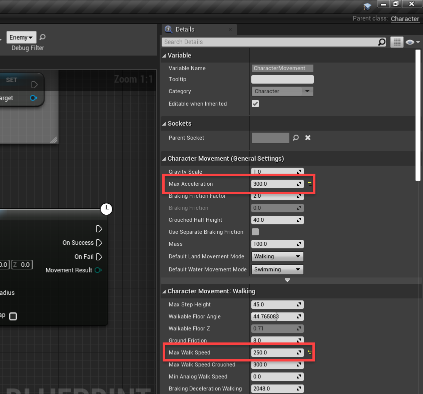 Unreal Engine Details window with speed settings applied