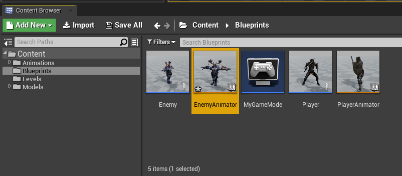 EnemyAnimator Blueprint created in Unreal Engine