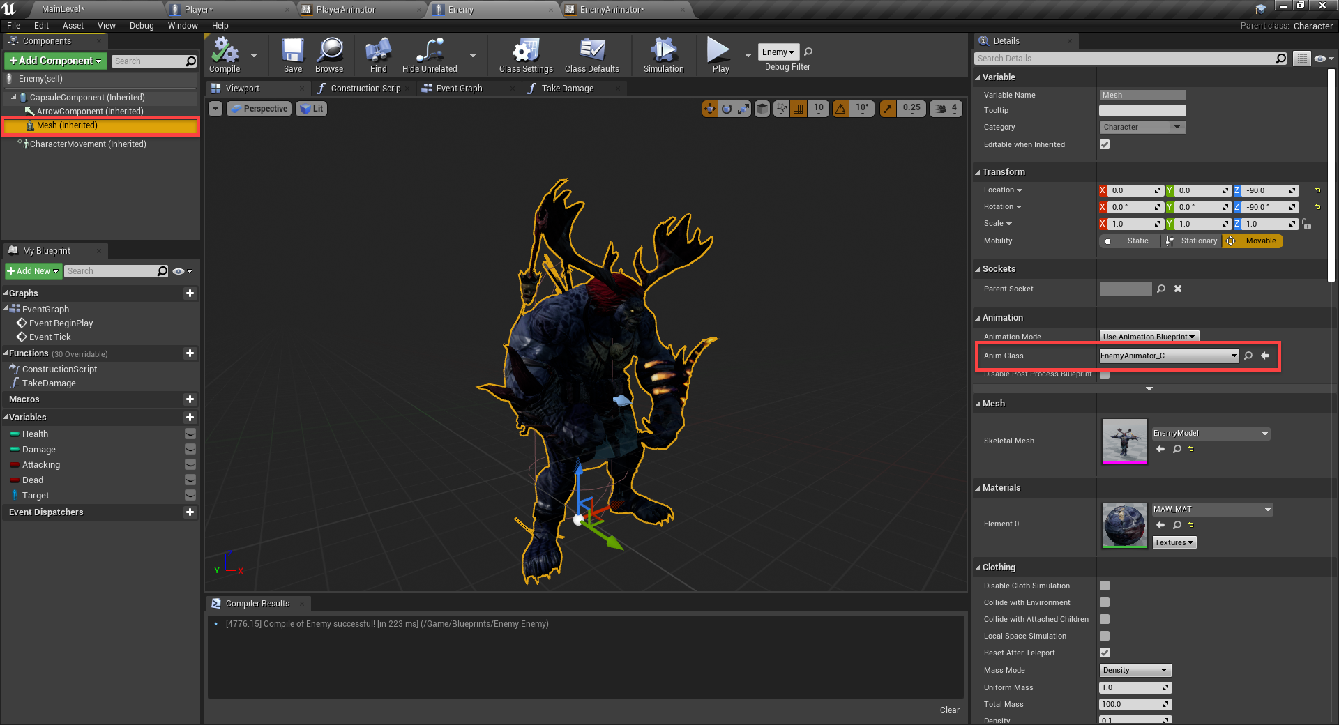 Enemy Anim Class set with animator in Unreal Engine