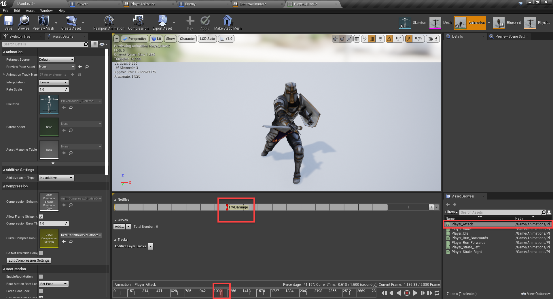 Unreal Engine animation with Try Damage function trigger added
