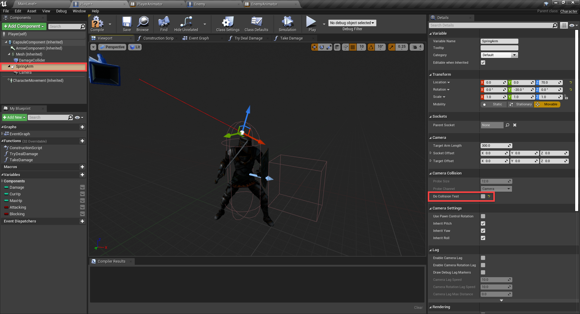 Do Collision Test option highlighted in Unreal Engine
