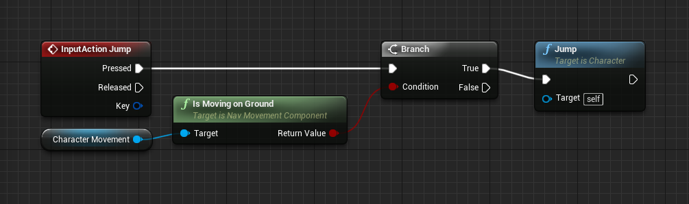 Jumping logic for FPS player in Unreal Engine
