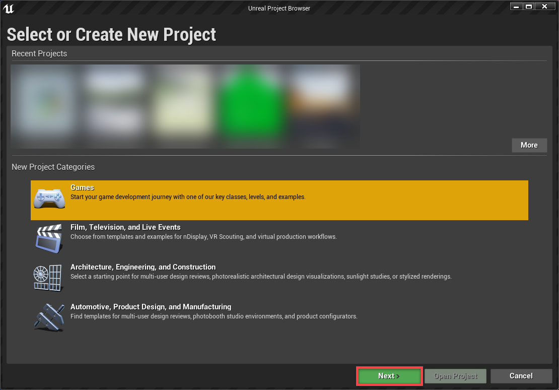 Create New Project screen for Unreal Engine
