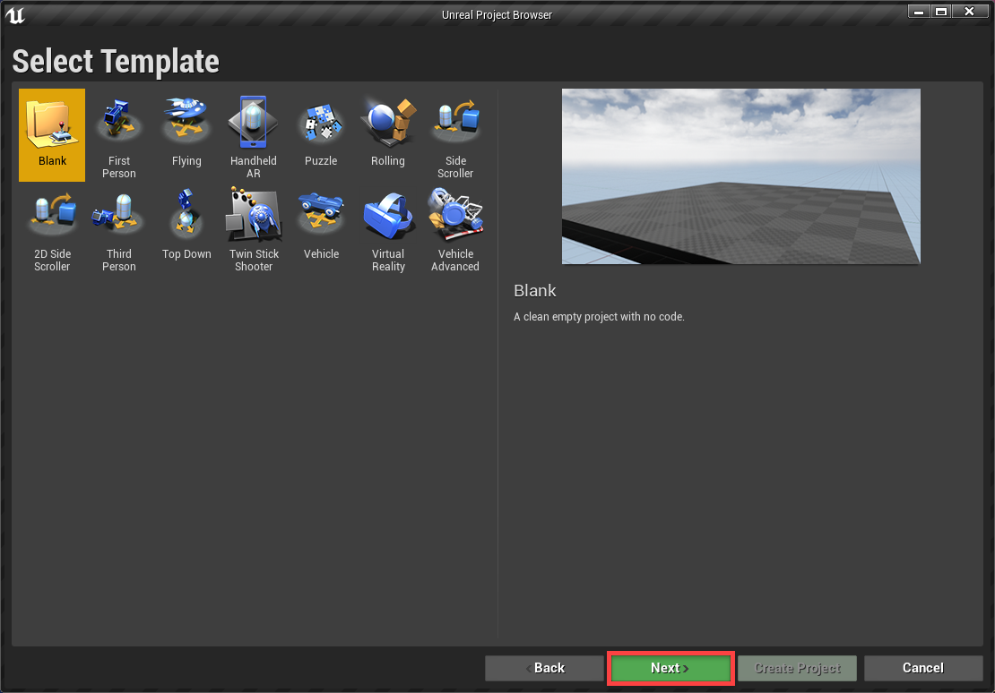 Select Template window for Unreal Engine