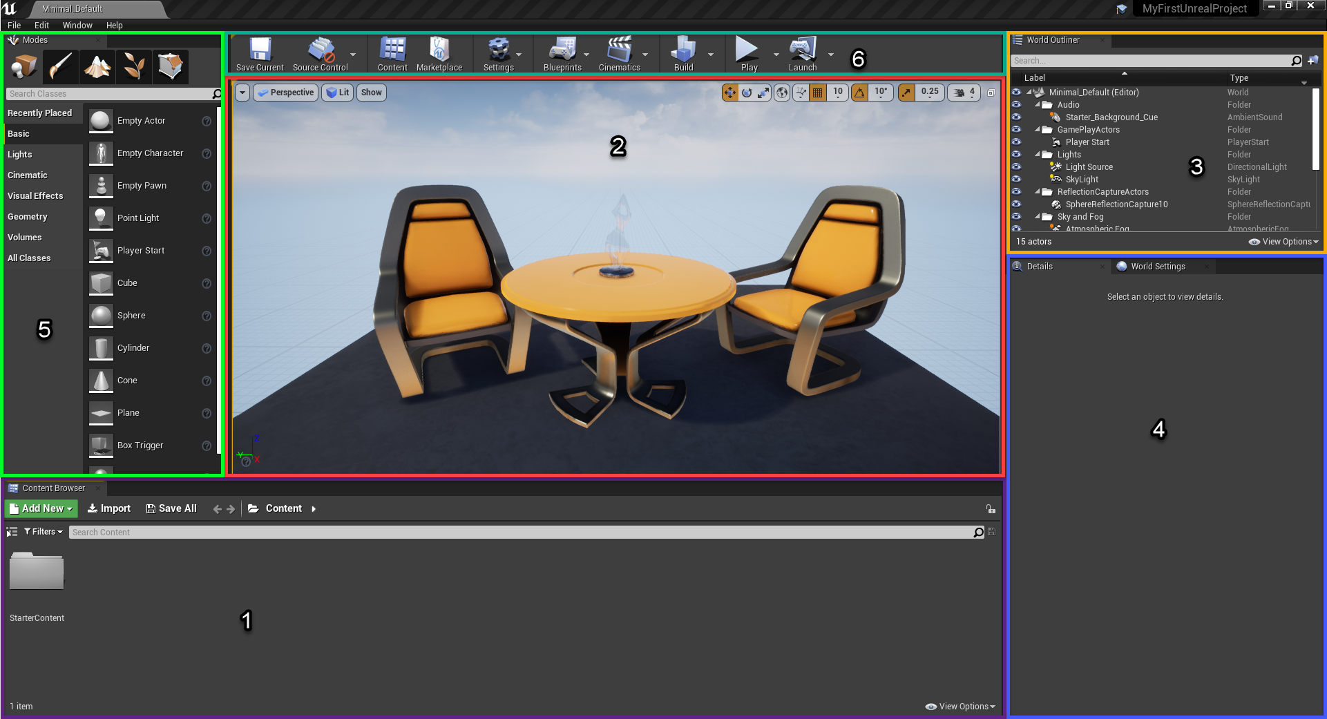 Unreal Engine with various viewports circled
