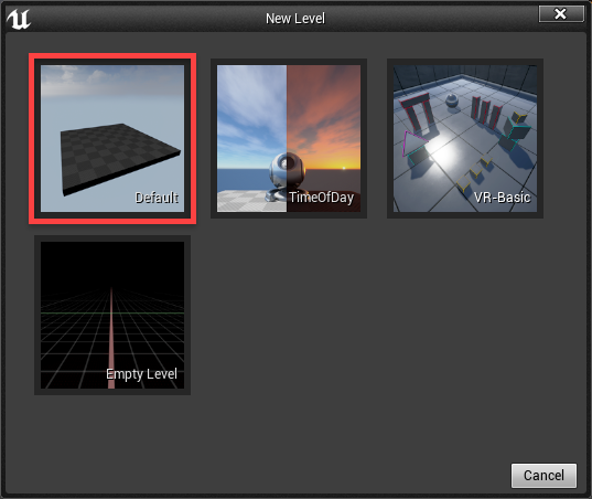 Unreal Engine New Level window