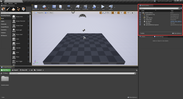 Unreal Engine with World Outliner circled