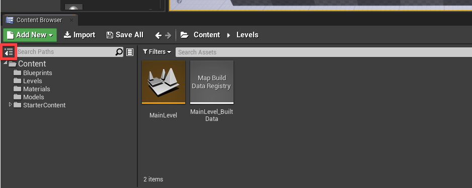 Unreal Engine Content Browser window with MainLevel