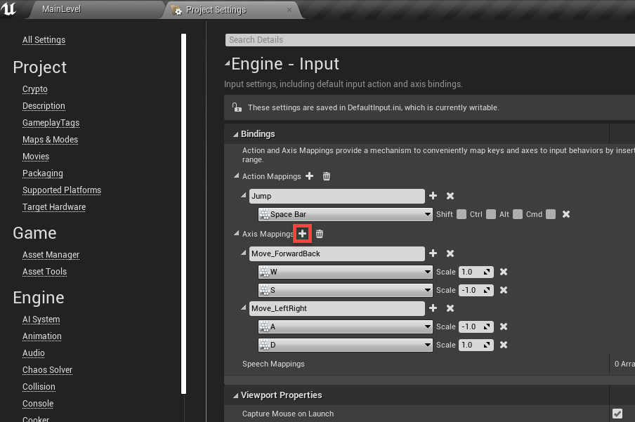 Unreal Engine Project Settings with Axis Mapping highlighted