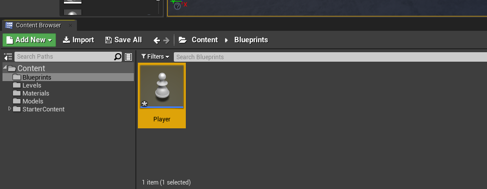 Unreal Engine Player in Content Browser